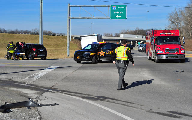 Mike Ullery | Miami Valley Today A two-vehicle crash at Co. Rd. 25-A at the northbound exit ramp to I-75 at the Farrington interchange saw three people transported to UVMC with minor injuries. The crash occurred around 12:30 p.m. Witnesses said that a southbound Jeep on 25-A failed to stop at a red light and stuck another vehicle. Piqua Fire Department medics transported the victims. The crash is being investigated by Miami County Sheriff's deputies.