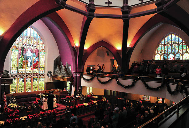 Mike Ullery | Daily Call The faithful gather at the First United Methodist Church in Troy to worship on the Sunday before Christmas.