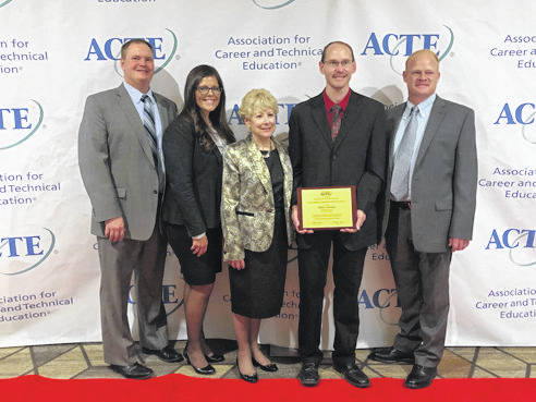 Provided photo Accompanying him to the conference, and present for the awards ceremony, were Upper Valley Superintendent Dr. Nancy Luce, Assistant Superintendent Jason Haak, Instructional Supervisor Roger Voisard, and Cosmetology Instructor and SkillsUSA Advisor Sara Plozay.