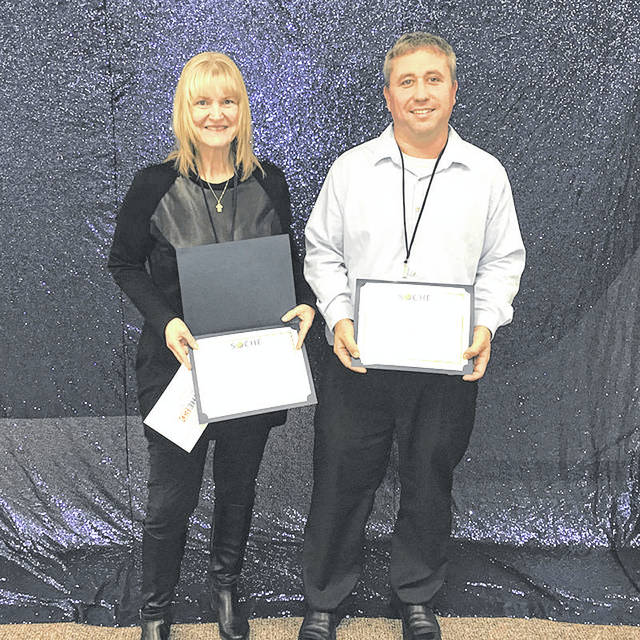 Provided photo Edison State Community College faculty members Sandra Streitenberger and Dustin Wenrich have been named recipients of the 2018 Faculty Excellence in Teaching Award from the Southwestern Ohio Council for High Education (SOCHE).