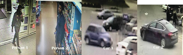 "The Piqua Police Department has released photos of suspects and their vehicles allegedly involved in Monday's shots-fired incident at the Piqua Walmart. Chief Bruce Jamison said, ""We seek the public's assistance in identifying the vehicles and/or persons in the attached images. Please call 937-615-8477(TIPS) or send anonymous tips to Submit-A-Tip methods on our website www.piquaohpd.org/ Please refer to ""Person 1 or 2"" or ""Vehicle 1 or 2"" when submitting tips."