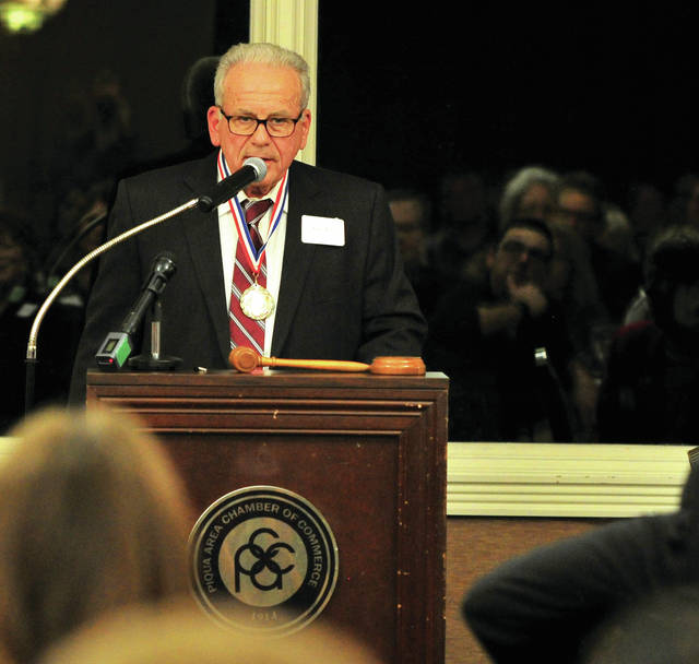 Mike Ullery | Daily Call Piqua resident Lynn Sever of PSC Crane and Rigging speaks to guests at the 2019 Piqua Area Chamber of Commerce's 73rd annual dinner on Thursday. Sever was named the 52nd Order of George recipient at the event.