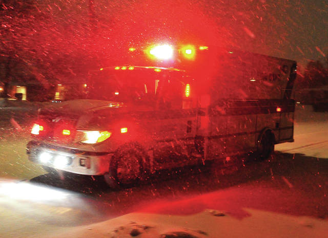 Mike Ullery | Miami Valley Today Troy Medic 3 responds to a call in Westbrook during Saturday's snow storm. Law enforcement, fire, and EMS units continued to patrol and respond to calls for assistance throughout the winter storm.