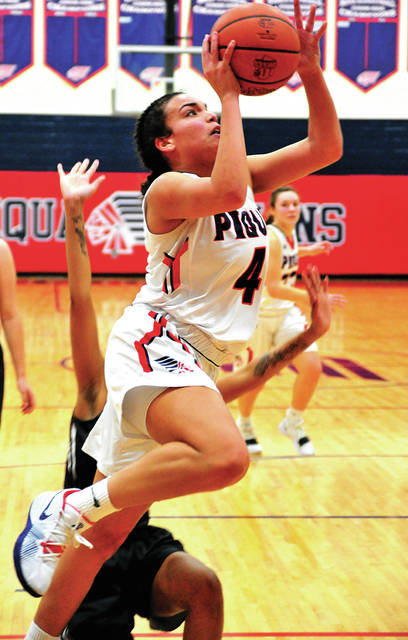 Piqua's Tylah Yeomans goes up for two points Wednesday against Stebbins at Piqua Junior High.
