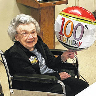 Provided photo Edith Edsall celebrates her 100th birthday with family and friends on Jan. 12 at Dorothy Love Retirement Community in Sidney.