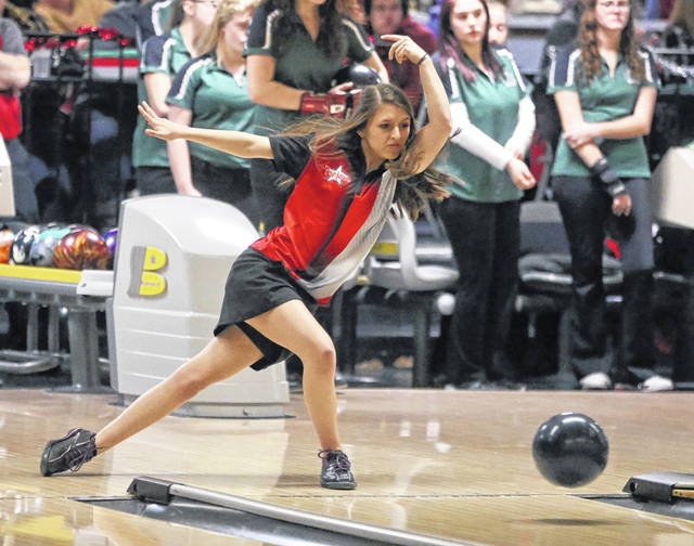 Lee Woolery|Miami Valley Today Troy senior Cassidy McMullen bowls on Senior Day Friday against Greenville at Troy Bowl.