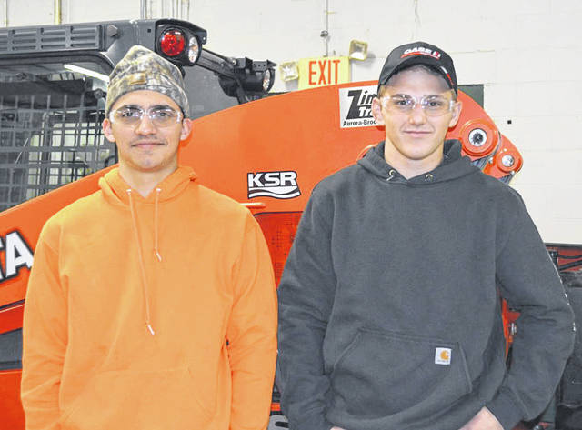 Provided photo Miami East-MVCTC FFA Chapter members Luke Gilliland and Jarrett Winner recently competed in the District Agricultural and Power Diagnostics Career Development Event hosted by the Preble County FFA Chapters.