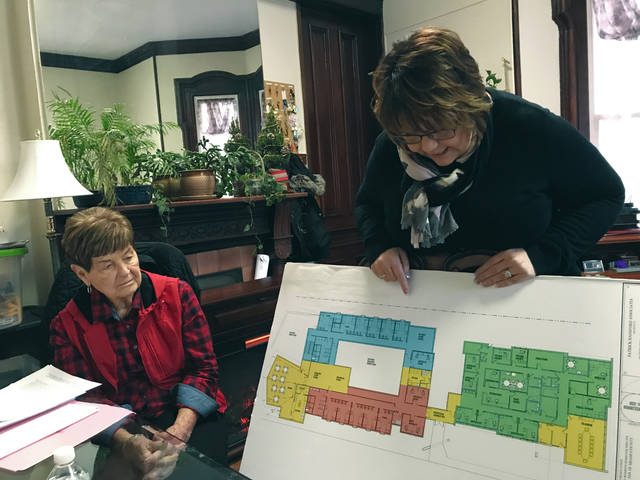 Melody Vallieu | Miami Valley Today Board member Ruth Jenkins, left, and director Barb Holman go over the plans for the interior of the new Family Abuse of Miami County.