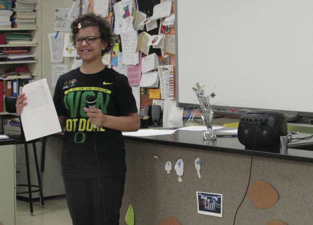 "Sam Wildow | Miami Valley Today Bradford fifth grade student Destiny Clark presents during the ""Souper Bowl"" party held this week in Intervention Specialist Tina Schmitz's classroom."