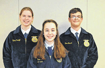 Provided photo FFA members from Miami East High School competing in the County Public Speaking Career Development Event were, left to right, Rylee Puthoff, Emma Sutherly, and Evan Massie.