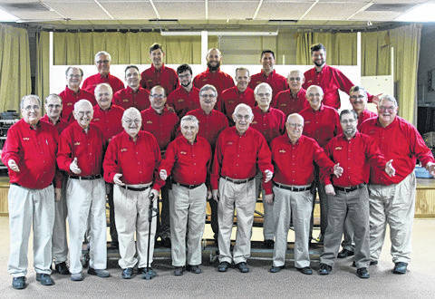 Provided photo Pictured are the Miami-Shelby Barbershop Chorus members: Front row, left to right, Julian Fasano, Don Jones, Don Heffner, Ron Ventura, Gordon Davis, Don Bierley, Mark Swearingen and Gary Roeth. Second row, Matt Blatchly, Jim Riley, Brad Boehringer, Gary Frick, Ken Crawford, Dale McKinney and Bob Moore. Third row, Steve McCall, Chris Benge, Zack McCall, Dale Smith and Russ Schmidt. Fourth row, Mark Eickhoff, Dean Brewer, Scott Eickhoff, Jason Sink and Ben Finney.