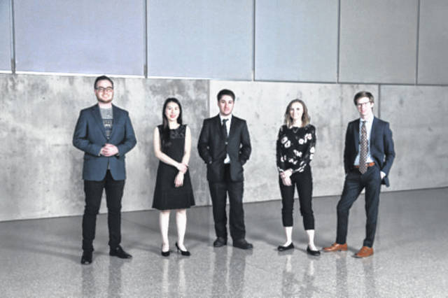 Provided photo From left, Jonathan Kierspe, Mei-Yi Wang, Ariel Magno da Costa, Erin Redick, and Alec Porter were selected as the winners for the 52nd annual competitions in music performance at Bowling Green State University's College of Musical Arts. Not pictured is Emilio Gonzalez.