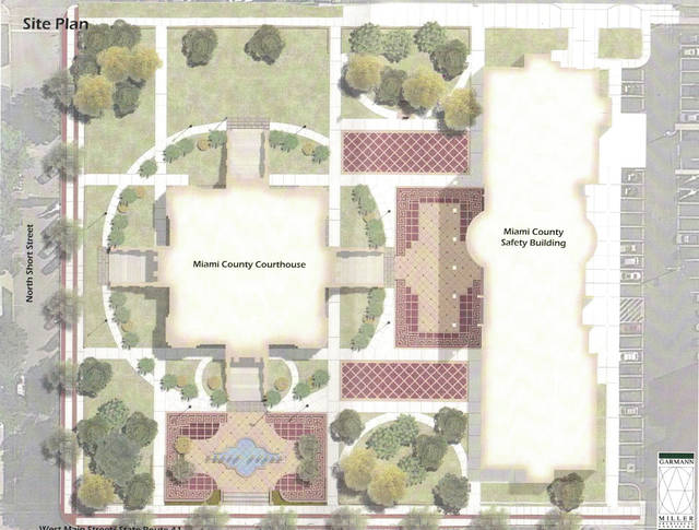 Provided photo The most recent plaza design presented to the county commissioners by Garmann Miller Architects shows new walkways and landscaping.
