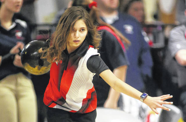 Lee Woolery | Miami Valley Sunday News file photo Kayleigh McMullen and the Troy girls bowling team captured a Greater Western Ohio Conference North Division title this winter.
