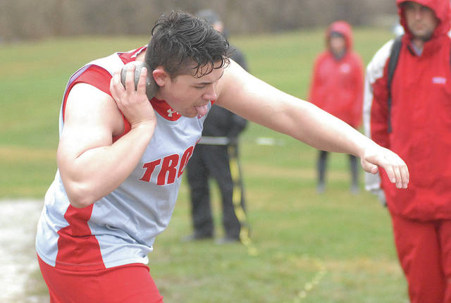 David Fong | Miami Valley Sunday News Troy's Jesse Westmeyer gets ready to throw the shot put Saturday at the Jack Lintz Northmont Invitational.