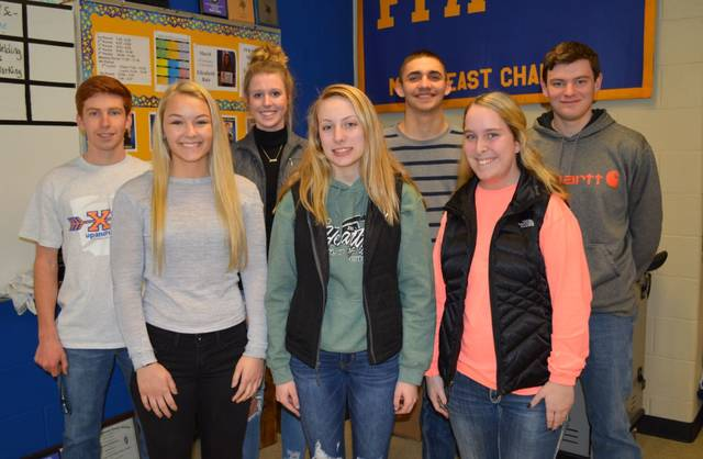 Provided photo State FFA Degree Recipients are front row, left to right, Kaitlyn Hawes, Savannah Holzen, and Kearsten Kirby Back row, Michael Bair, Liza Bair, Lucas Gilliland, and Ethin Bendickson.