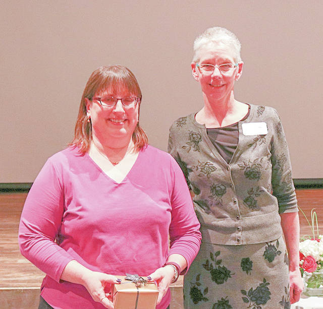 Provided photo Edison State Community College Admissions/Registration Processing Specialist Alice Gurklies, shown with President Dr. Doreen Larson, was recognized for 30-years of employment during the 40th annual Employee Recognition Banquet.