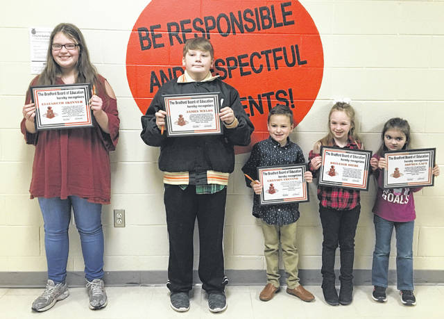 Sam Wildow | Miami Valley Today From left to right, the following students were recognized during the Bradford Board of Education's student spotlight during their meeting on Monday evening: Elizabeth Skinner, James Weldy, Greyson Trevino, Brileigh Diehl, and Sophia Lacy.