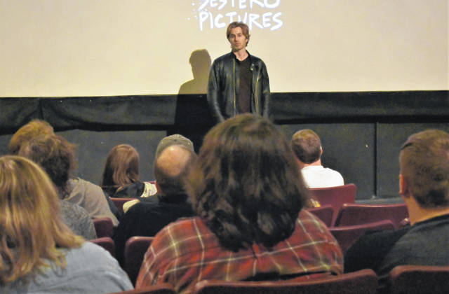 Cody Willoughby | AIM Media Midwest Greg Sestero fields questions from ticket holders on Friday at Mayflower Arts Center.