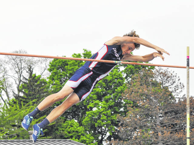 Rob Kiser|Miami Valley Today file Piqua pole vaulter Jackson Heitkamp clears the bar at the GWOC meet last year. He is back for his senior season.