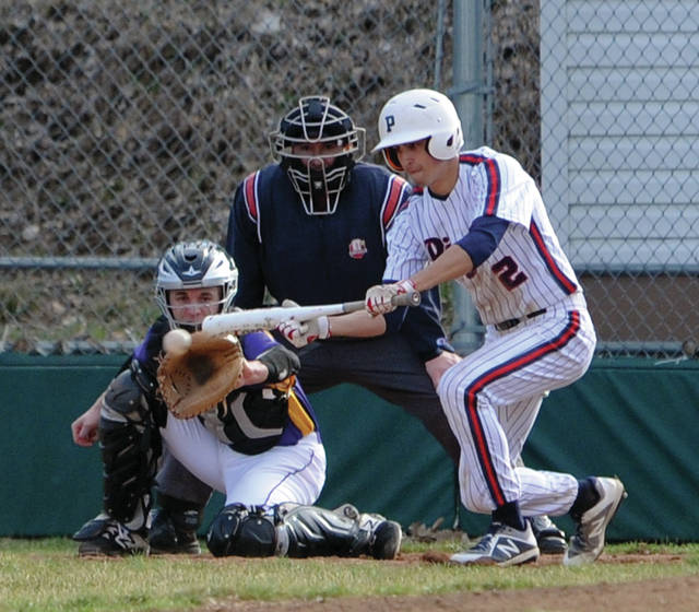 Piqua's Owen Toopes puts a bunt down against Vandalia-Butler Tuesday at Hardman Field.