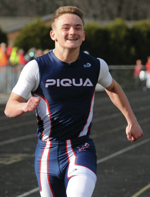 Piqua's Aiden Meyer crosses the finish line in the 100-meter dash Wednesday.