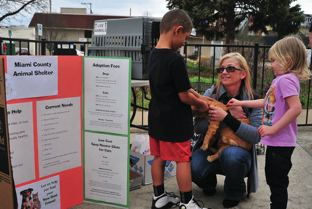 Miami County Animal Shelter Manager Kandice Kriebel, center, introduces Curtis Burns, Jr., 6, and Arya Wheeler, 4, of Troy, to one of the many animals available for adoption through the shelter, during a Saturday fund-raising event at 311 Draft House in Piqua.