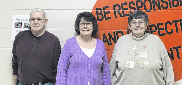 Sam Wildow | Miami Valley Today From left to right, Larry Yount, Naomi Yount, and Mary Alice Yount were recognized during the Bradford Board of Education's volunteer spotlight on Monday evening.