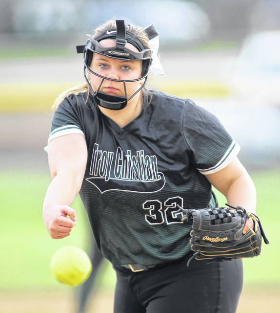 Lee Woolery|Miami Valley Today Troy Christian's Jenna Douglas pitches Thursday against Southeastern.