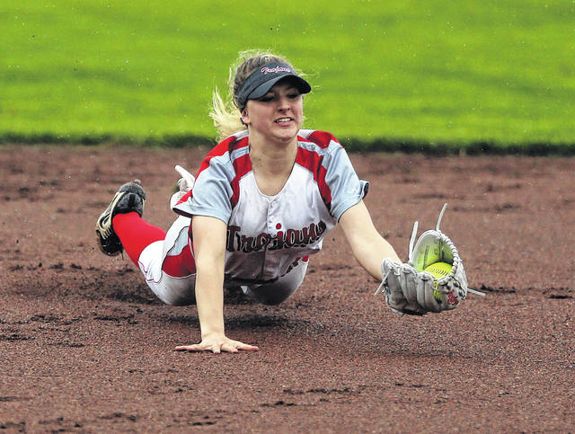 Lee Woolery|Miami Valley Today Troy shortstop Lauren Fonner makes a diving catch against Butler Thursday at Market Street Diamond.