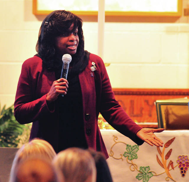 Mildred D. Muhammad speaks to guests on Thursday, the second day of the annual Miami County Victim Witness two-day Victim's Rights Seminar at the First Lutheran Church in Troy. Muhammad was a long-time victim of abuse by her then-husband, John Muhammad, who was found guilty and executed for the infamous Washington, D.C. sniper shootings in 2002.