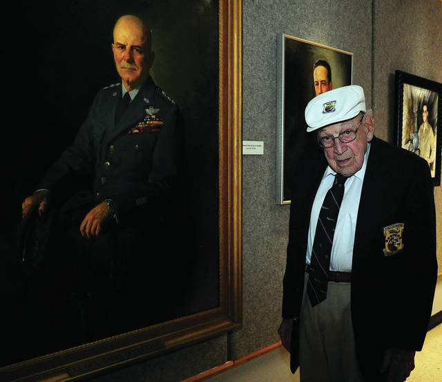 Mike Ullery | Miami Valley Today Lt. Col. Dick Cole of Dayton, Ohio, posed with this portrait of General Jimmy Doolittle during the 75th anniversary of the Doolittle Raid on Tokyo in 2017. Cole passed away on Tuesday at the age of 103. He was the last surviving member of the famed Doolittle Tokyo Raiders.