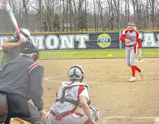 Troy starting pitcher Erica Keenan delivers a pitch to the plate at Northmont.