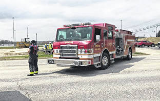 Mike Ullery | Miami Valley News Construction crews working at the new Kettering Health Care facility on Looney Road in Piqua struck a high pressure natural gas supply line around 1:30 p.m. on Tuesday causing a gas leak.