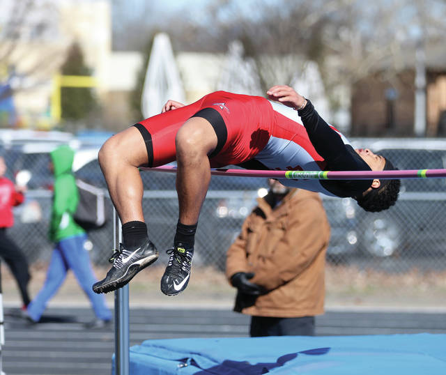 Lee Woolery   Miami Valley Today Kevin Walters, shown here competing in the high jump at the Up and Running Invitational, and the Troy track and field team host the Herb Hartman Invitational Friday.