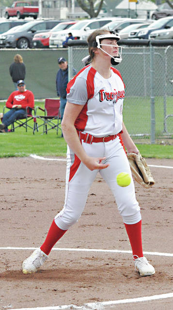 Rob Kiser|Miami Valley Today Troy pitcher Erica Keenan fires a pitch towards the plate against Piqua Tuesday.
