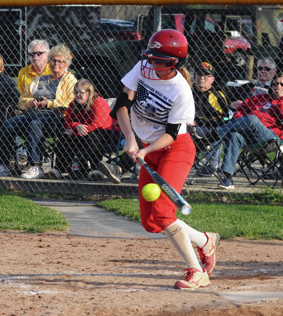 Rob Kiser|Miami Valley Today Piqua batter Kamy Trissell puts the ball in play against Sidney Tuesday.