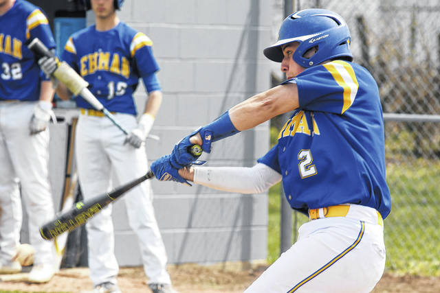 Ben Robinson|GoBuccs.com Lehman Catholic's RJ Bertini takes a swing against Covington Saturday.