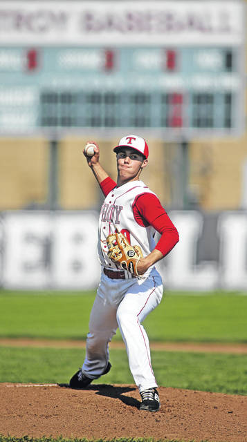 Lee Woolery|Miami Valley Today Troy's Cole Brogan pitches against Butler Monday at Market Street Field.