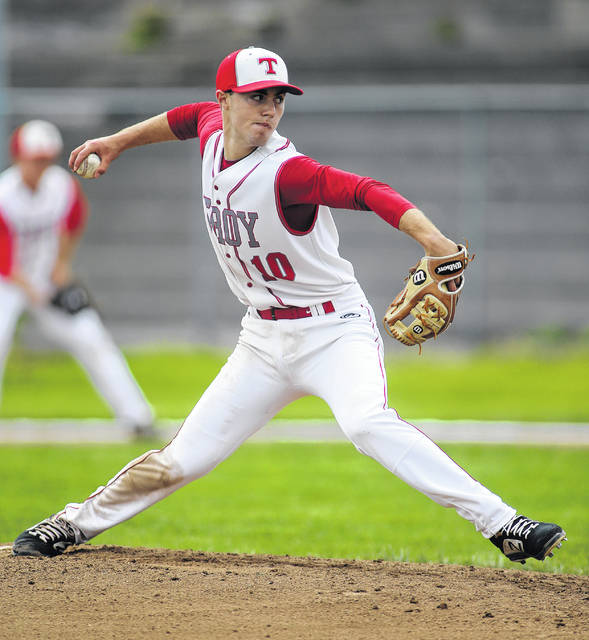 Lee Woolery|Miami Valley Sunday News Troy senior Cole Brogan pitched a no-hitter on Senior Day against Oakwood Saturday at Market Street Field.