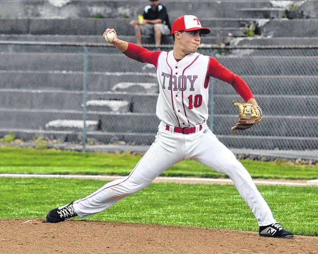 Josh Brown Miami Valley Today Troy's Cole Brogan pitches against Wayne Thursday in a Division I sectional tournament game at Market Street Field.