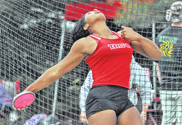 Josh Brown|Miami Valley Today Troy's Lenea Browder breaks the Division I district meet record in the discus Friday at Piqua High School