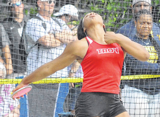 Josh Brown|Miami Valley Today Troy's Lenea Browder breaks a Division I regional track and field meet record in the discus Friday at Wayne High School.