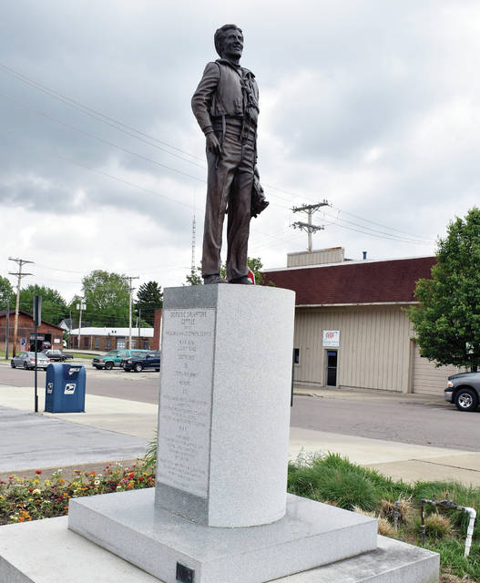 The Beautification Committee of Mainstreet Piqua recently had the Don Gentile statue in downtown Piqua restored to its original glory. Mike Major, of Urbana, cleaned and restored the statue of Piqua native and World War II hero, Gentile, over a period of about a month.