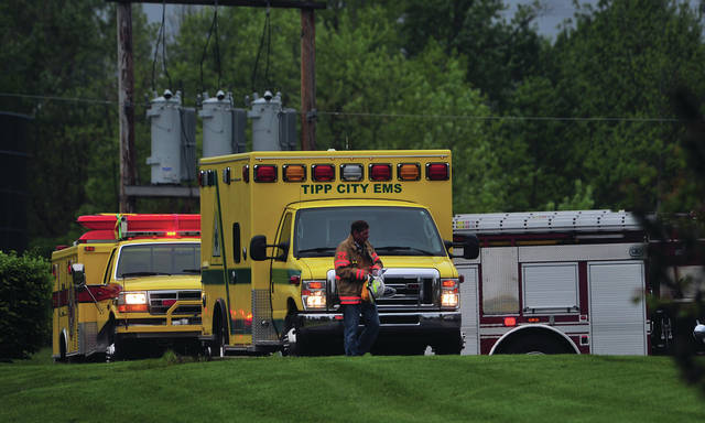 Mike Ullery | Miami Valley Today Tipp City emergency crews and Miami County Hazmat work at the scne of an acid spill at the Tipp City Water Treatment Plant on Monday afternoon.