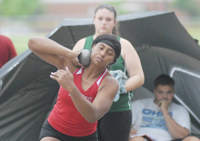 David Fong | Miami Valley Today Troy's Lenea Browder captured a Division I regional title in the shot put Wednesday at Wayne High School.