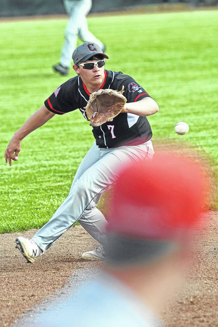 Ben Robinson|GoBuccs.com Covington's Cooper Jay fields a ground ball against Cedarville in Division IV sectional action Wednesday.