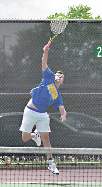 Rob Kiser|Miami Valley Today Lehman Catholic's Danny Lins launches a serve in a doubles match against Milton-Union Tuesday.