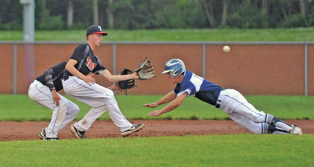 Josh Brown|Miami Valley Today file Troy Post 43 shortstop Austin Kendall waits to receive a throw as Piqua Post 184's Howie Ludwig attempts to steal second base during a game last week. Troy Post 43 will host its Veterans Appreciation Tournament this weekend at Duke Park.