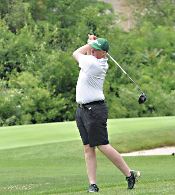Rob Kiser|Miami Valley Today Brendan Siehl watches his tee shot on the opening hole Sunday.